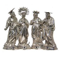Set of Religious Figures in Repoussé Silver by Bartolomeo Borroni, Rome, 1750