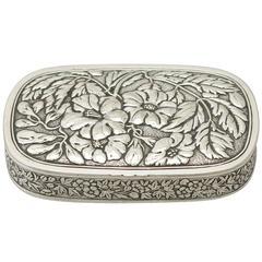 American Sterling Silver Snuff Box Antique, circa 1880