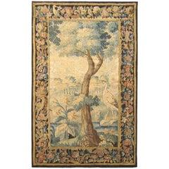 Antique Flemish Verdure Landscape Tapestry Panel, w/ Large Tree & Foliate Border