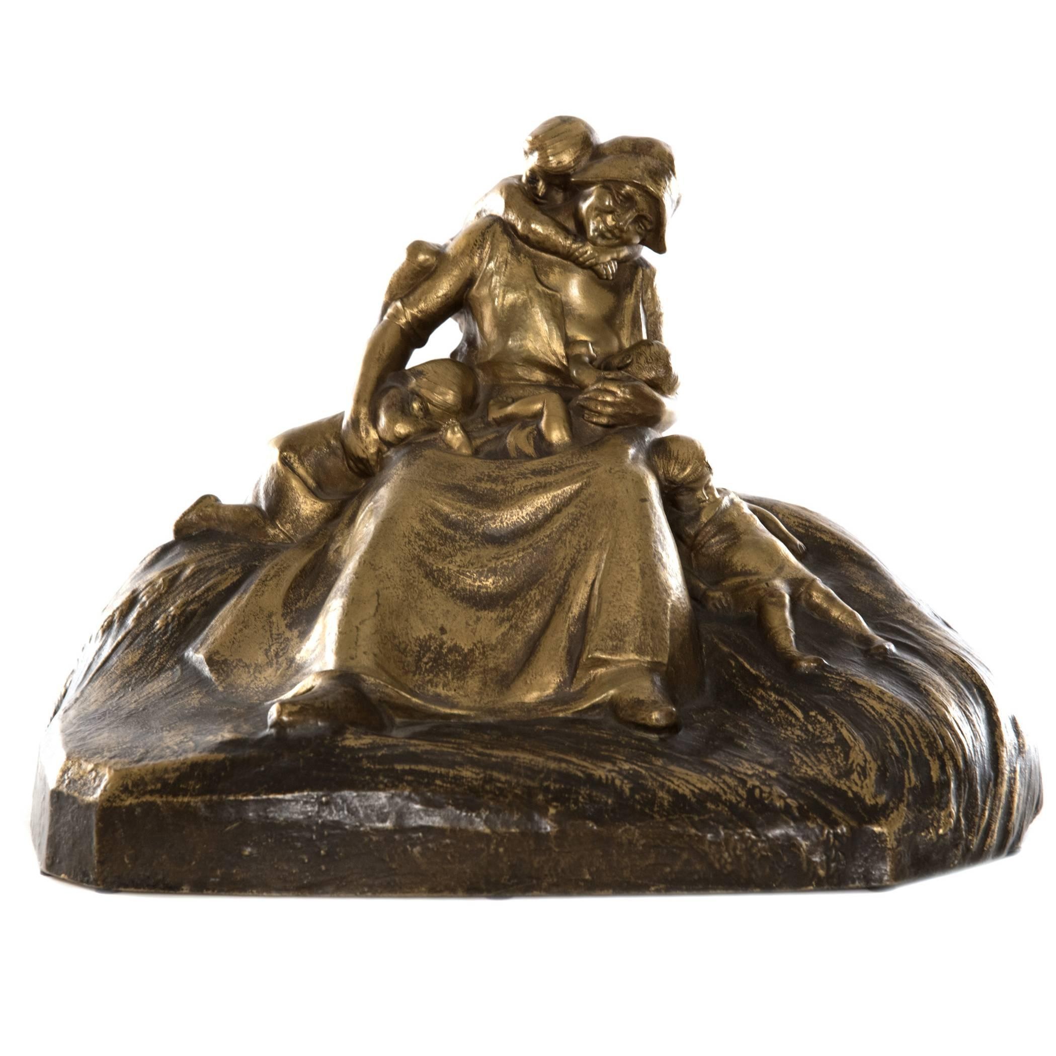 French Figural Bronze of Mother with Children by Lucien Alliot