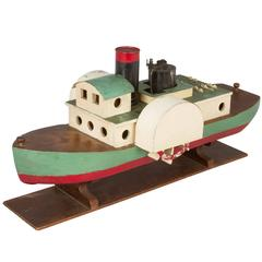 Folk Art Steam Paddle Boat on Stand