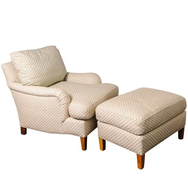 Onda Chair And Ottoman In Missoni Fabric By Giovanni: Club Chair And Ottoman With Diamond-Star-Pattern Cream