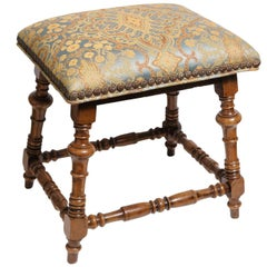19th Century English, Jacobean Style Stool with Gold and Blue Damask Fabric