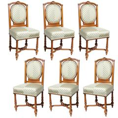 Set of Six English, Edwardian Dining Side Chairs with Green Upholstery Fabric