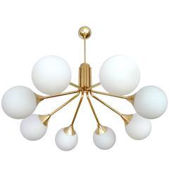 Large Stilnovo Style Glass Chandelier, 1960s Modernist Design Pendant  Lamp