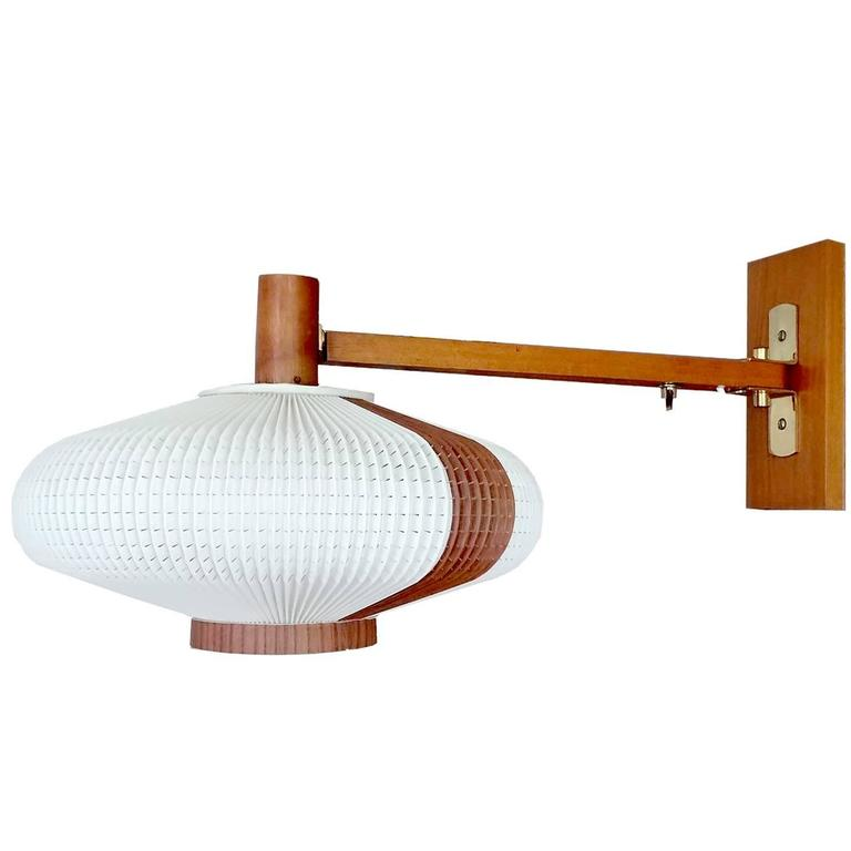 Very Large Danish Modern Swing Cocoon Sconce, 1960s Modernist Juhl Era For Sale at 1stdibs