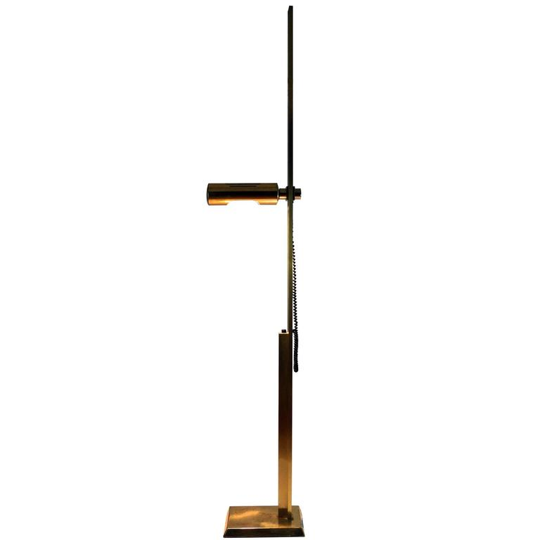 Forceful Brass Floor Lamp, 1970s