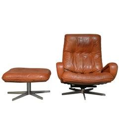 Vintage De Sede S 231 James Bond Swivel Lounge Armchair with Ottoman, 1960s