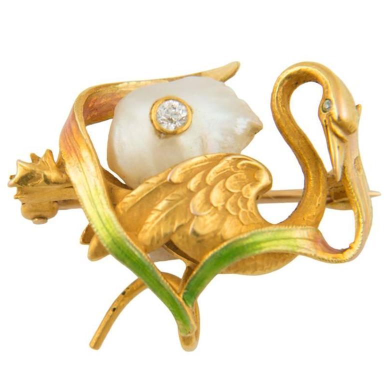 Art Nouveau 14-Karat Gold Brooch, USA circa 1900, Stamped Krementz & Co