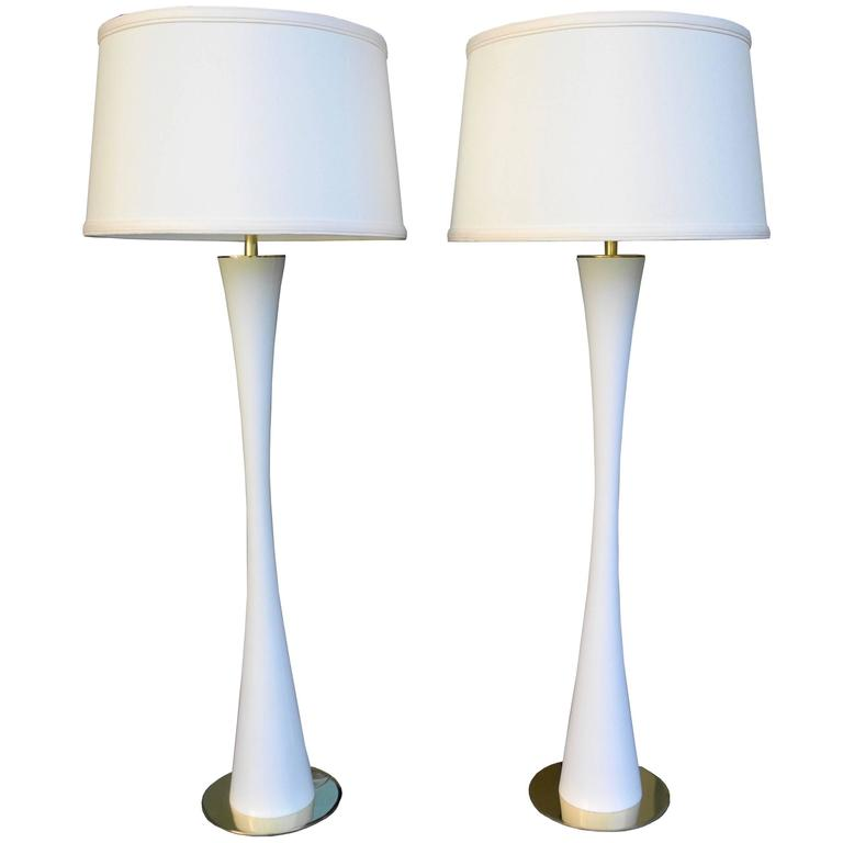 Very Tall White Tulip Metal and Brass Lamps by Stewart Ross James for Hansen