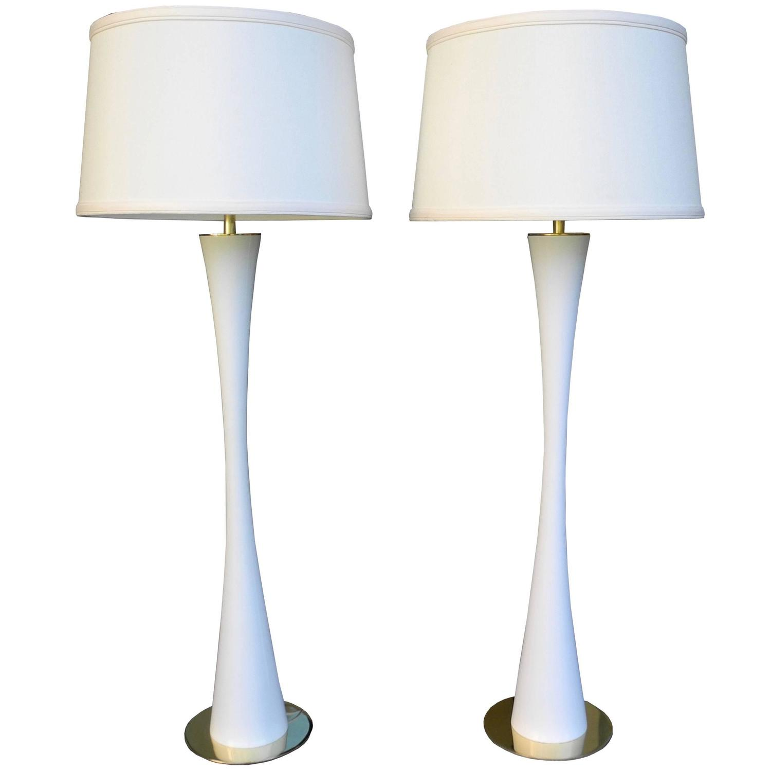 Very Tall White Tulip Metal And Br Lamps By Ross James For Hansen At 1stdibs