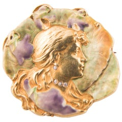 Art Nouveau Brooch and Pendant French circa 1900 Enamel Brilliant Gold Stamped