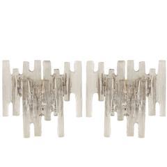 Pair of Grand Scale Kalmar Ice Glass Vanity Sconces