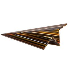 PAPER PLANE Striped Multicolor Sculpture Glass Decoration