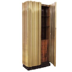 Brass Tubes Cabinet with Polished Brass Tubes Gold-Plated