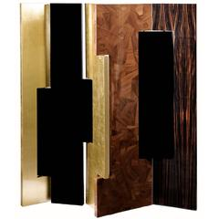 Broadway Folding Screen with Gold Leaf Black Lacquered Walnut and Ebony