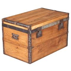 French Vintage Pine Traveling Trunk, 1920s