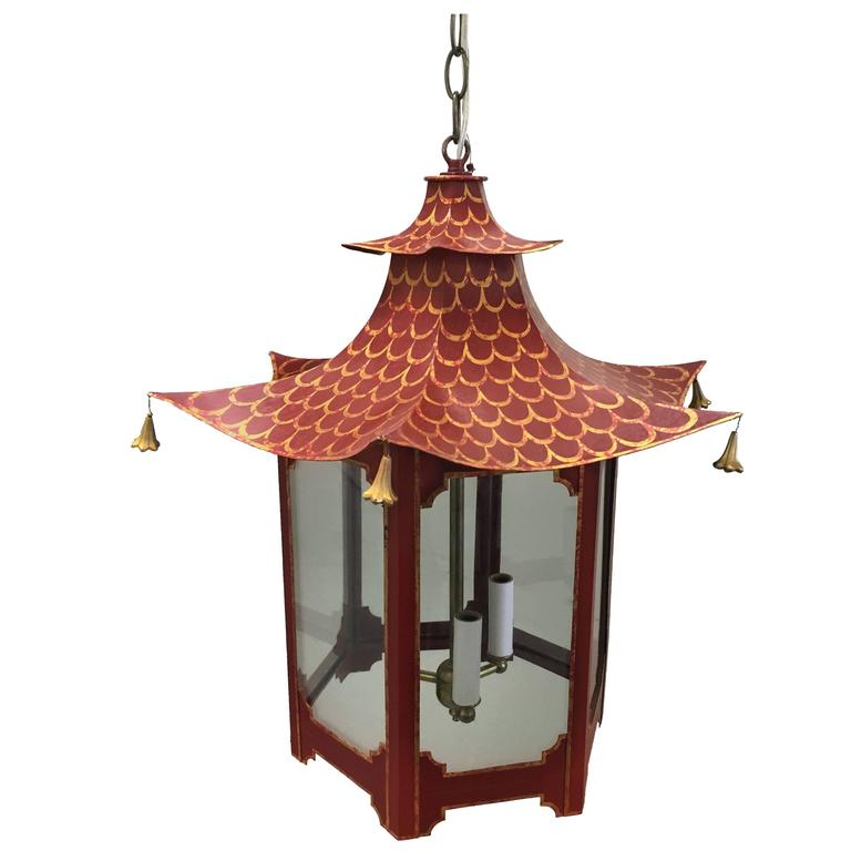 Custom Red and Gold Chinoiserie Pagoda Chandelier at 1stdibs