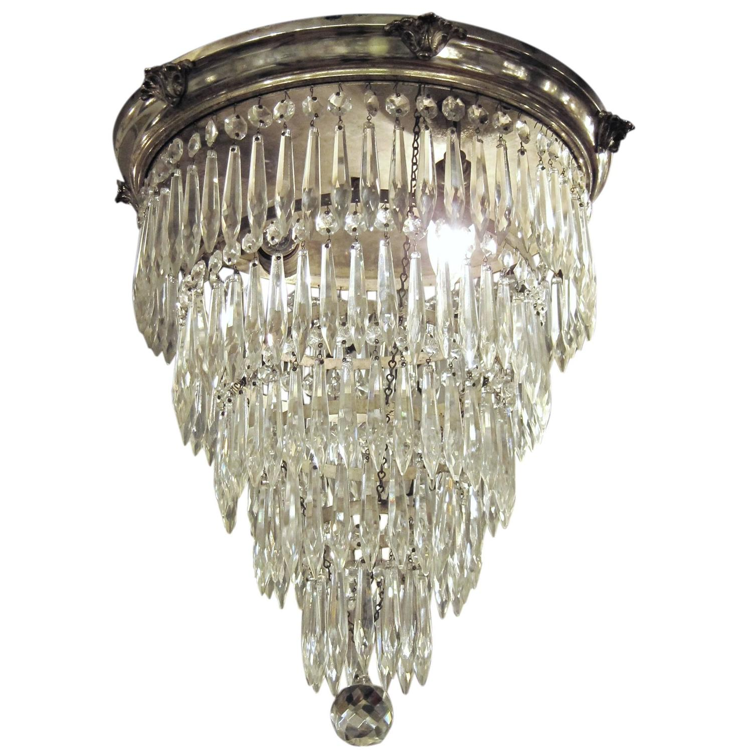 1920s Silver Plated Crystal Wedding Cake Flush Mount Chandelier With Five Tiers At 1stdibs
