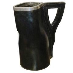 19th Century Black Leather Pitcher, England