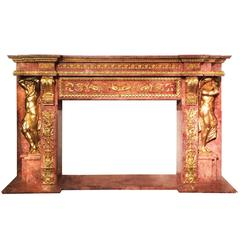 Monumental Rouge Marble Fireplace Mantel