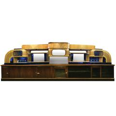 Two-Toned Deco Bar with Blue Glass Mirrors