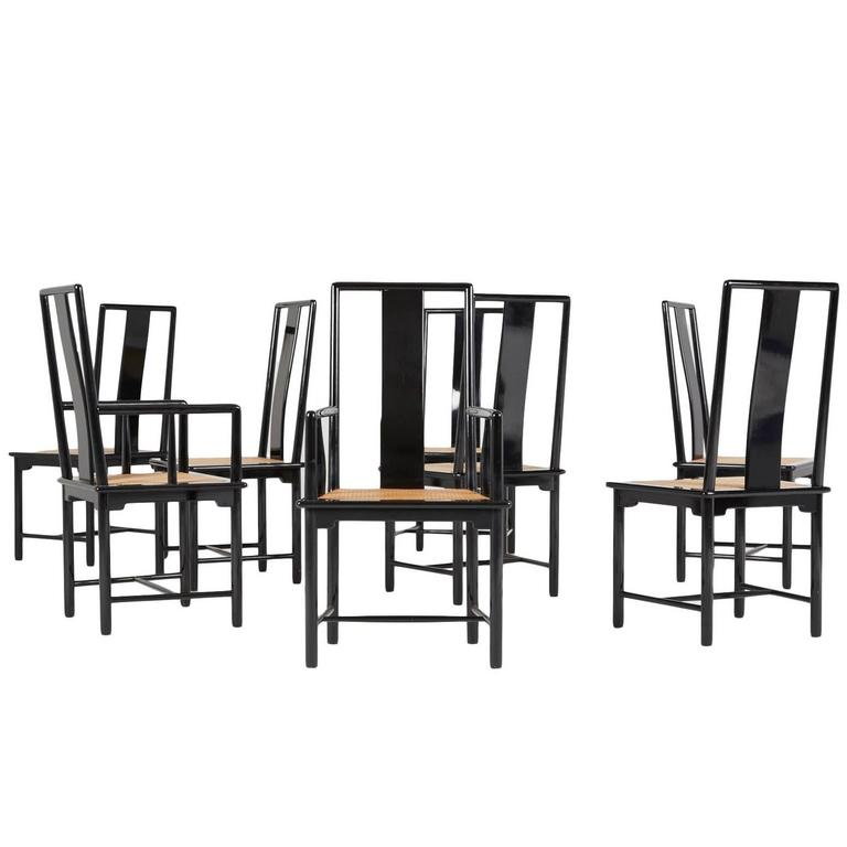 set of eight italian lacquered dining chairs 1970s at 1stdibs