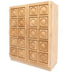 Brutalist Oak Bar Cabinet