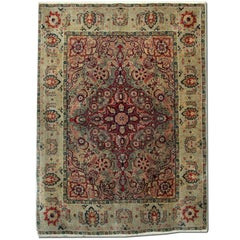 Handmade Antique Rugs, Agra Indian Rug, luxury Red Rugs for Sale