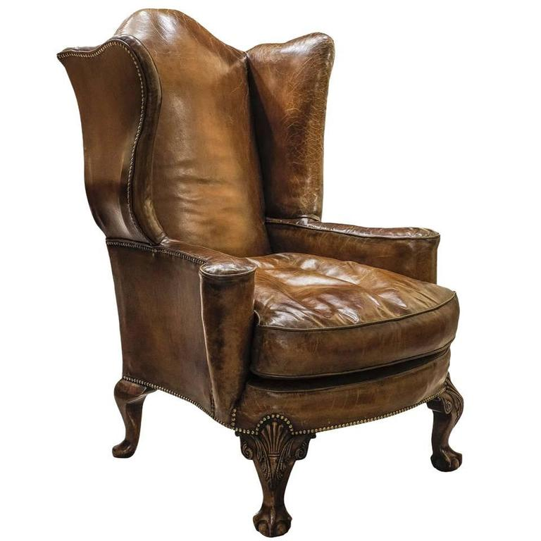 Large Queen Anne Leather Armchair at 1stdibs