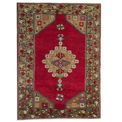 Antique Rug Handmade Carpet, Anatolian Turkish Rug, Red Living Room Rug for Sale