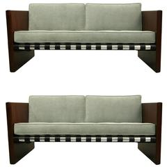 Pair of Mid-Century Danish Rosewood Chrome and Leather Sling Sofas