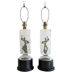 Rare Silver Alfredo Barbini Murano Glass Dancer Lamps
