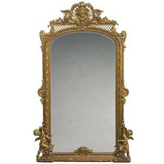 Monumental French Louis XVI Style Giltwood Mirror, 19th Century
