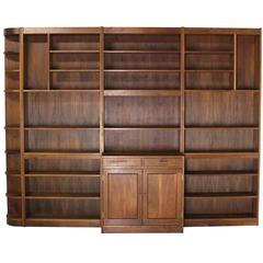 Large All Solid Walnut Shelving Wall Unit Bookcase Nakashima Style