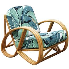 Restored 3/4 Round Pretzel Rattan Lounge Chair with Beverly Palms Cushions