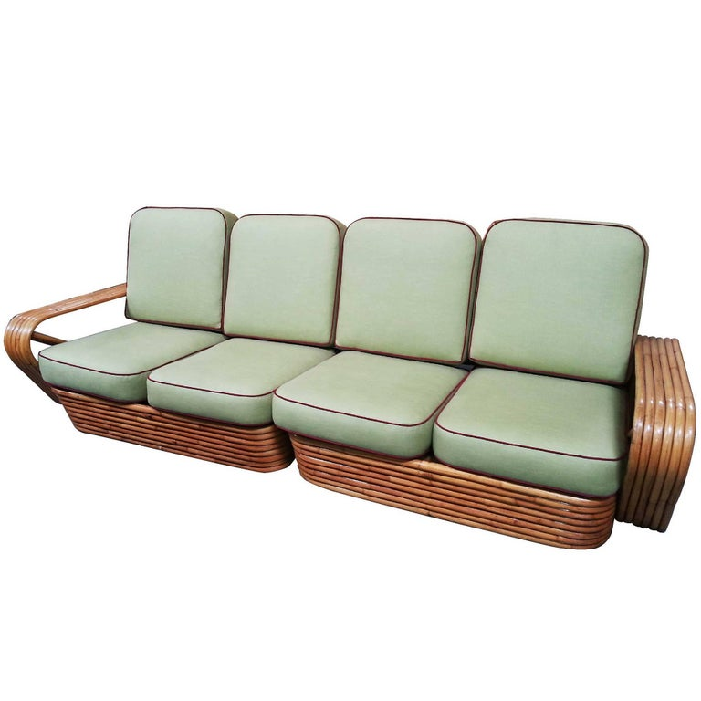 Restored Square Pretzel Rattan Four-Seat Two-Piece Sectional Sofa by Paul Frankl For Sale