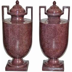 Pair of 19th Century Solid Marble Neoclassical Urns