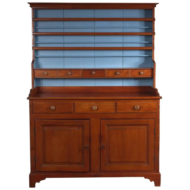 Beautiful 19th Century American Open Pine Hutch For Sale