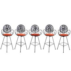 Set of Five Iron Drink Titled Bar Stools