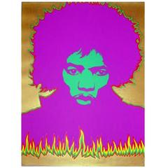 Signed and Numbered Silk Screen Print of Jimmy Hendrix by Larry Smart