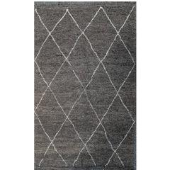 Hand-Knotted Beni Ouarain Moroccan Tribal Rug, Made of Gray Wool