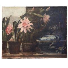 Still-Life 'Pink Flowers and Blue Tureen' by Herman Vedel, Denmark, 1924