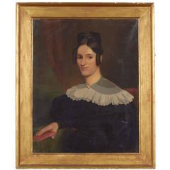 Oil on Canvas Portrait of Almira Hinman