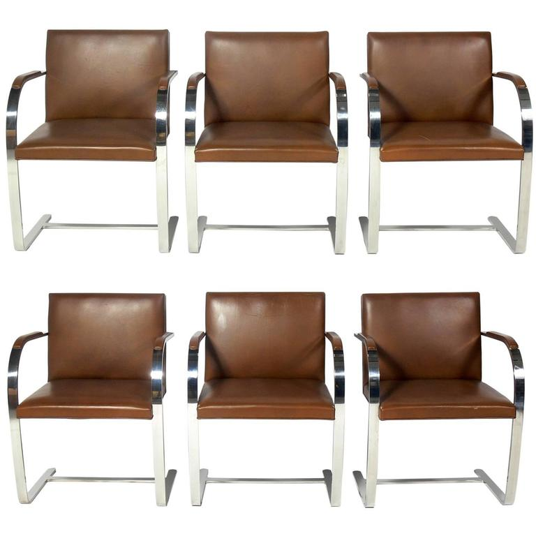 Set Of Six Knoll Brno Chrome And Leather Dining Chairs For