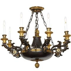 Magnificent French Empire Patinated Bronze and Gold Doré Eight-Light Chandelier