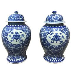 Pair of 19th Century Blue and White Chinese Export Jars