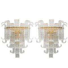 Italian Murano Felci Glass Sconces by Barovier e Toso