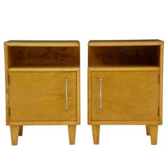 Pair of 1960s Deco Inspired Birch Bedside Table Cabinets