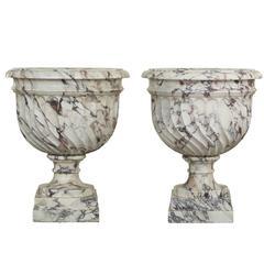 Pair of Italian 19th Century Louis XVI Style Breche Violette Marble Urns